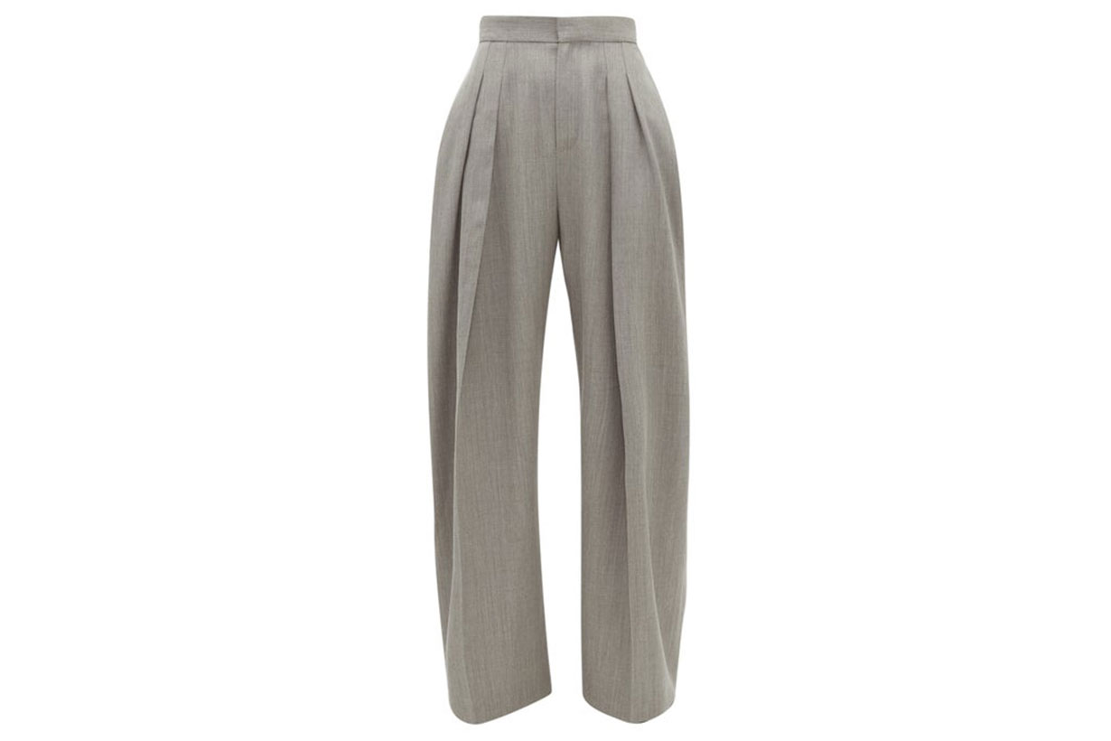 High-rise Pleated Wool-gabardine Trousers