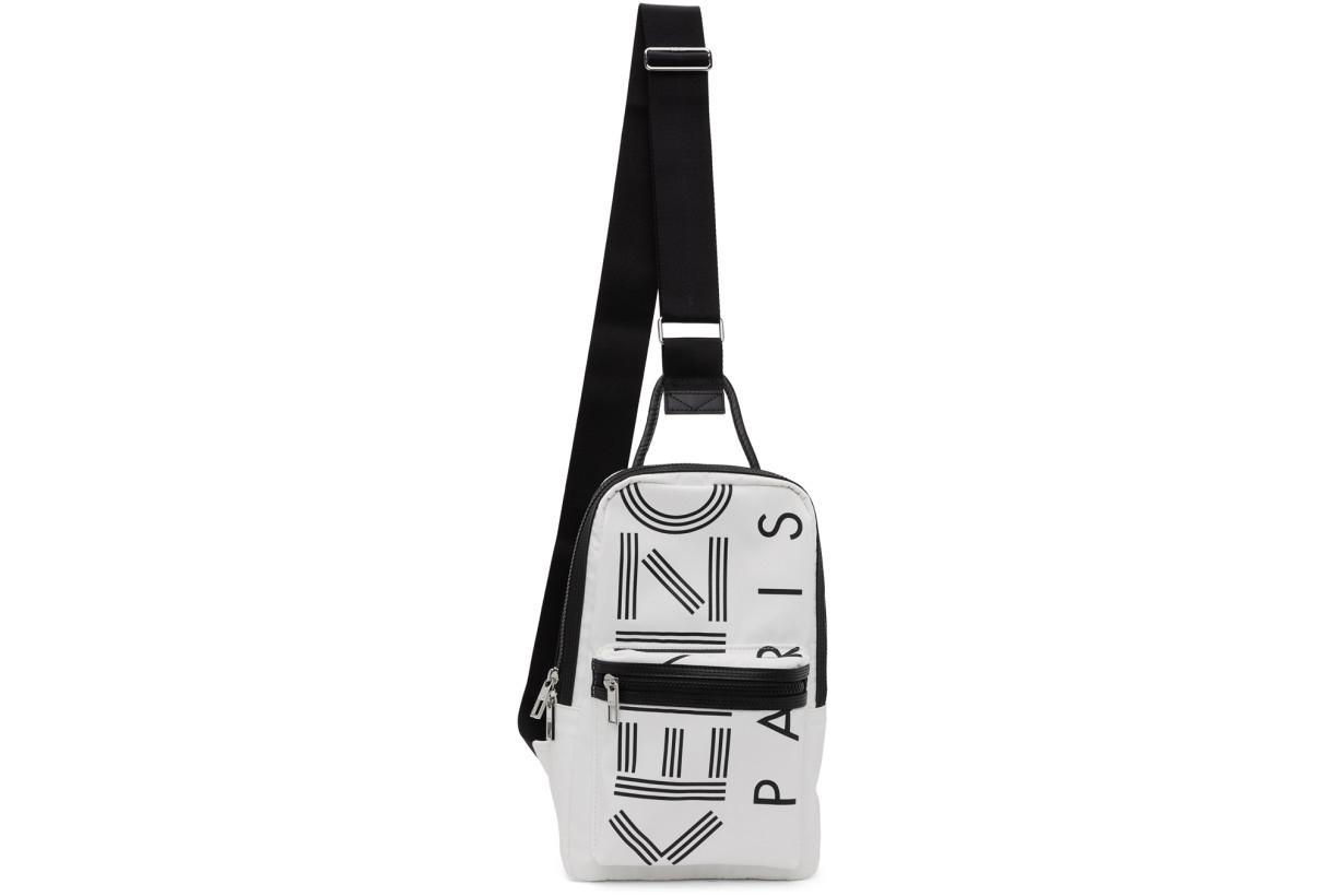 Kenzo white crew logo crossbody backpack