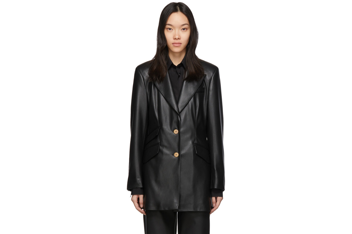 Nanushka Black Vegan Leather Cancun Blazer