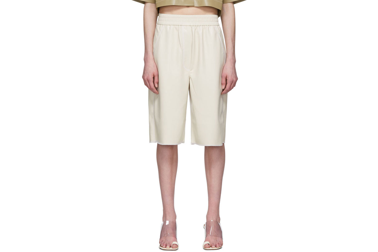 Nanushka Off-White Vegan Leather Yolie Long Shorts