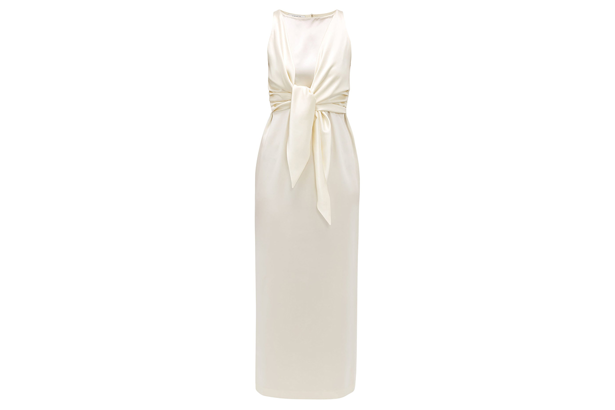 Nicole tie-front silk-charmeuse dress