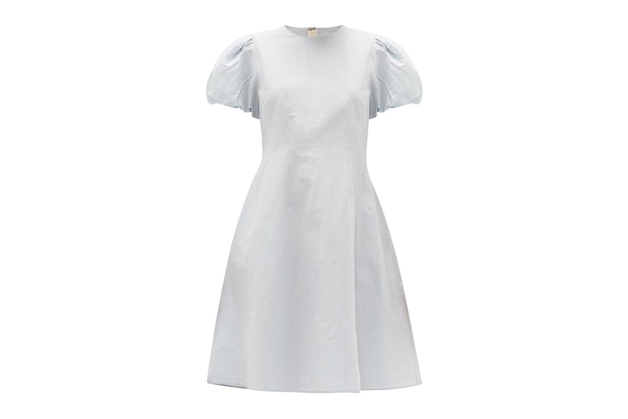 Puffed-sleeve Cotton-blend Dress