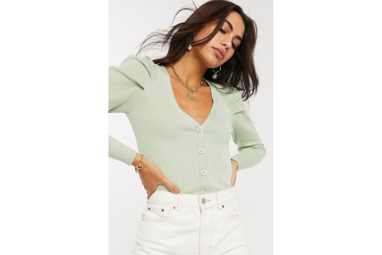 Stradivarius Ribbed Cardigan in Mint