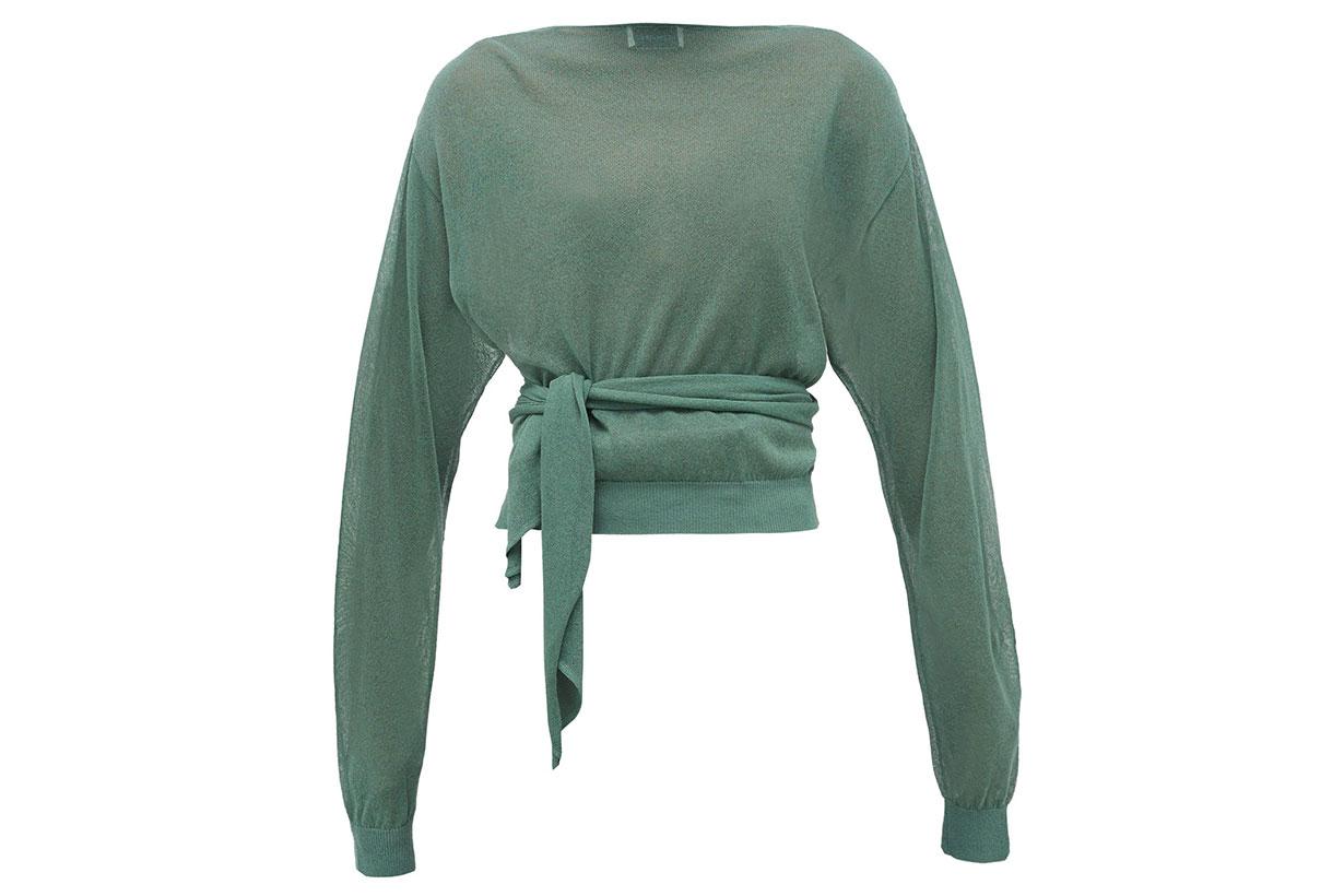 Tie-waist Wrap Sweater