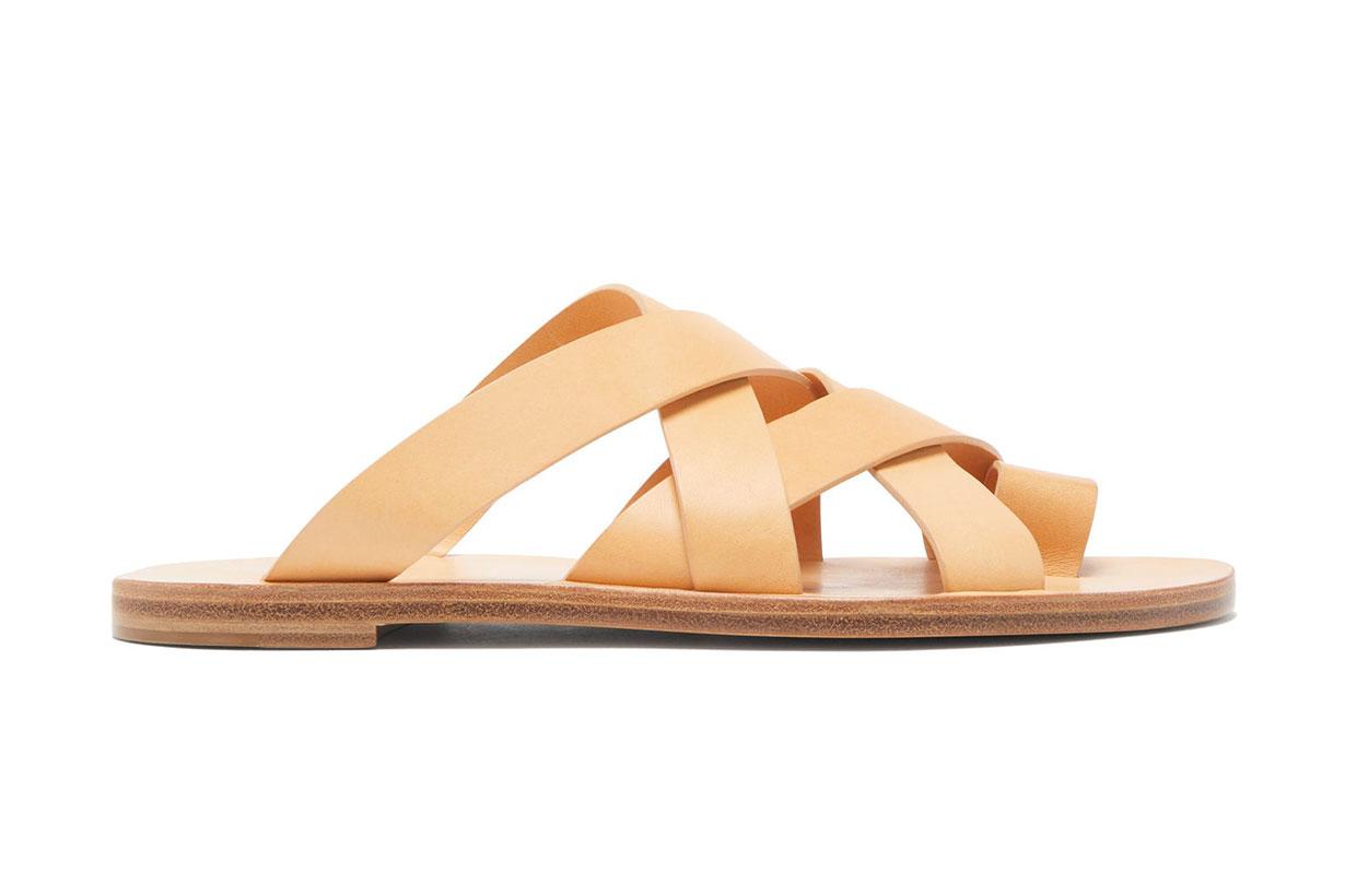 Toe-loop cross-strap leather slides