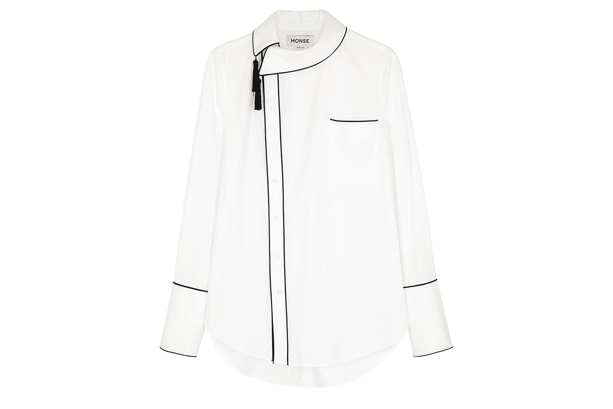 White Tassel-embellished Stretch-cotton Shirt
