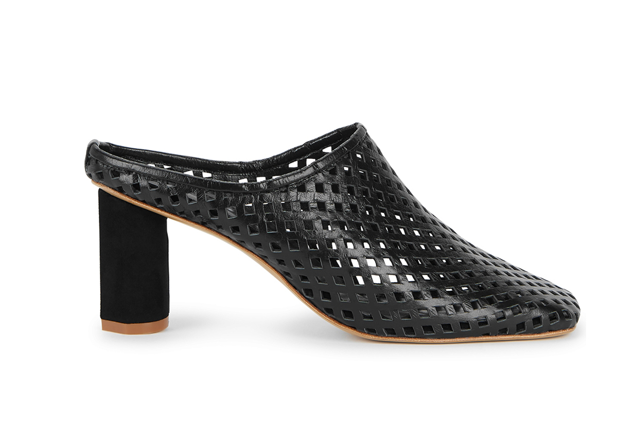 75 black cut-out leather mules