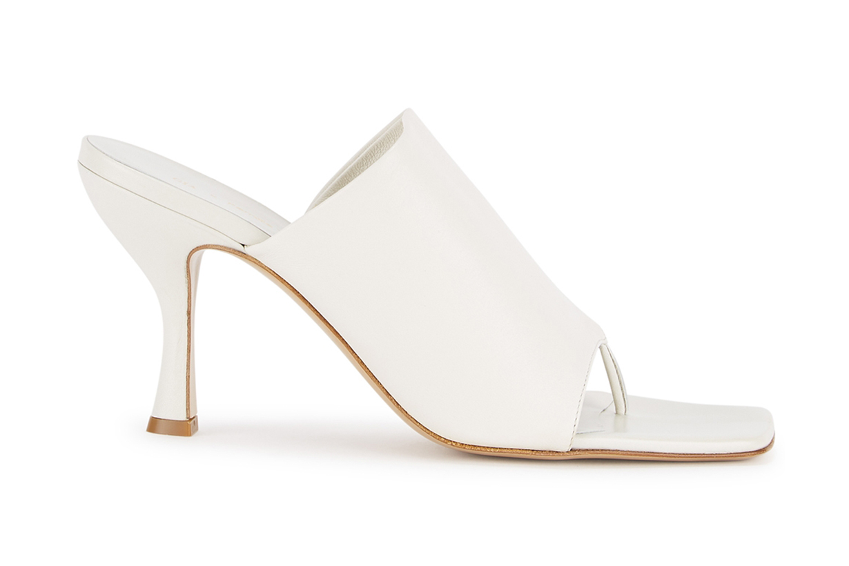 80 white leather mules