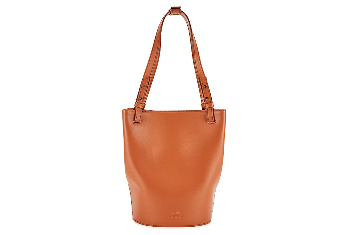 Aaron brown leather bucket bag
