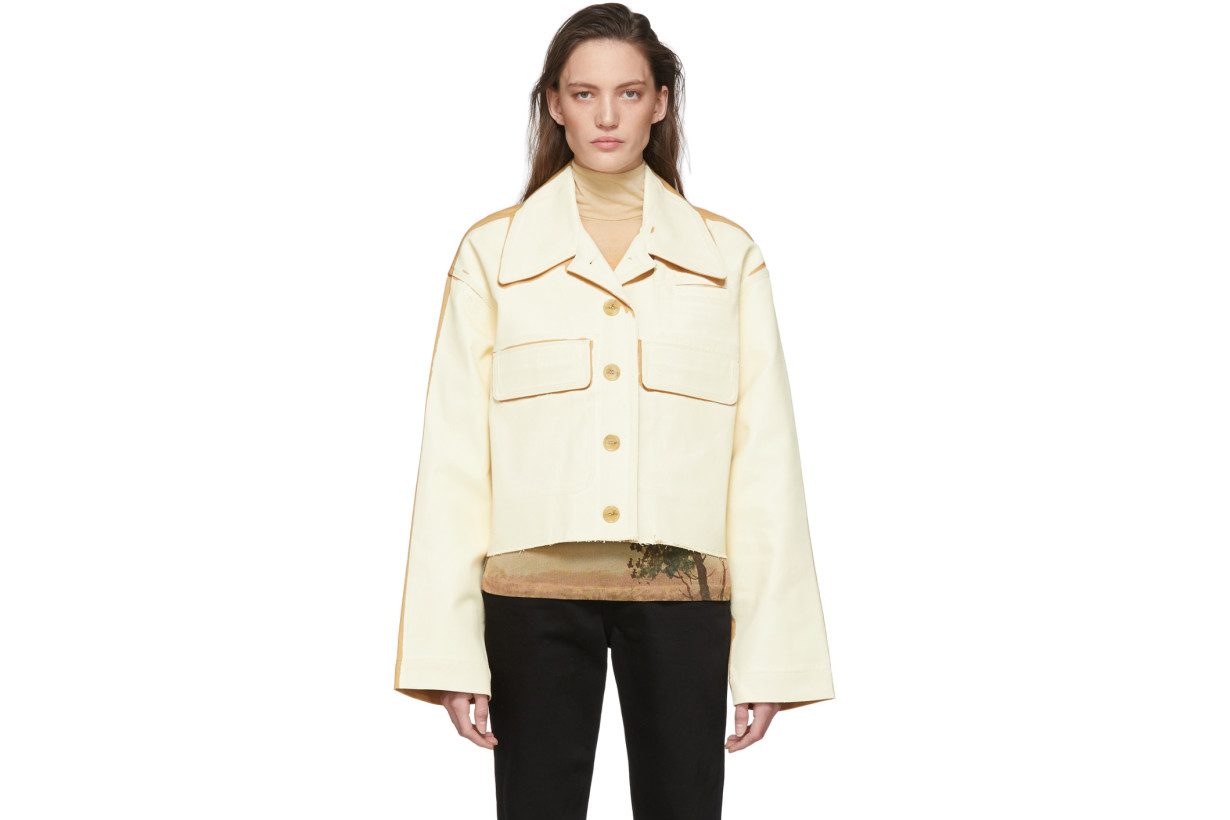 Acne Studios Beige & Tan Painted Twill Jacket
