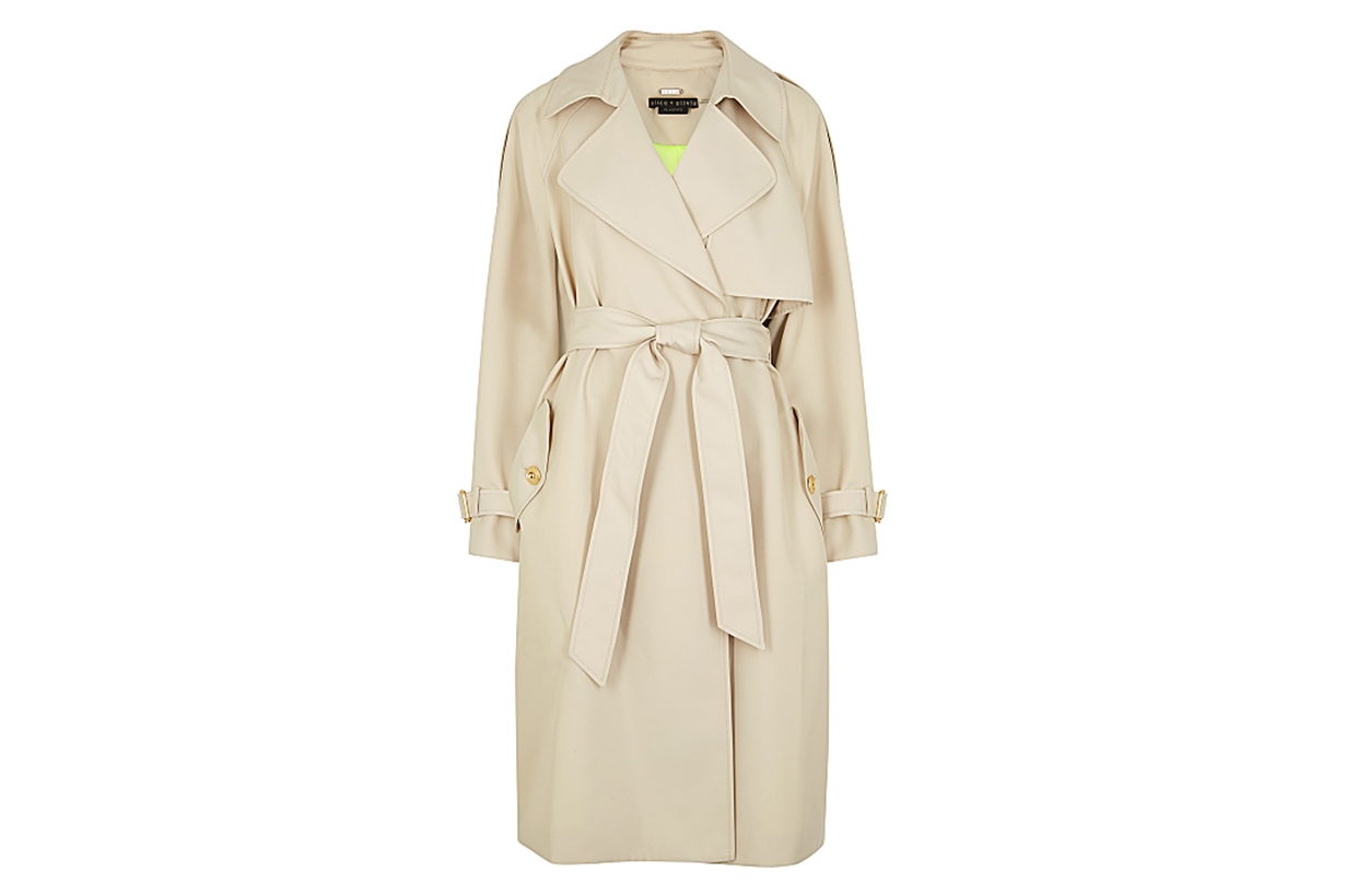 Adrien taupe twill trench coat
