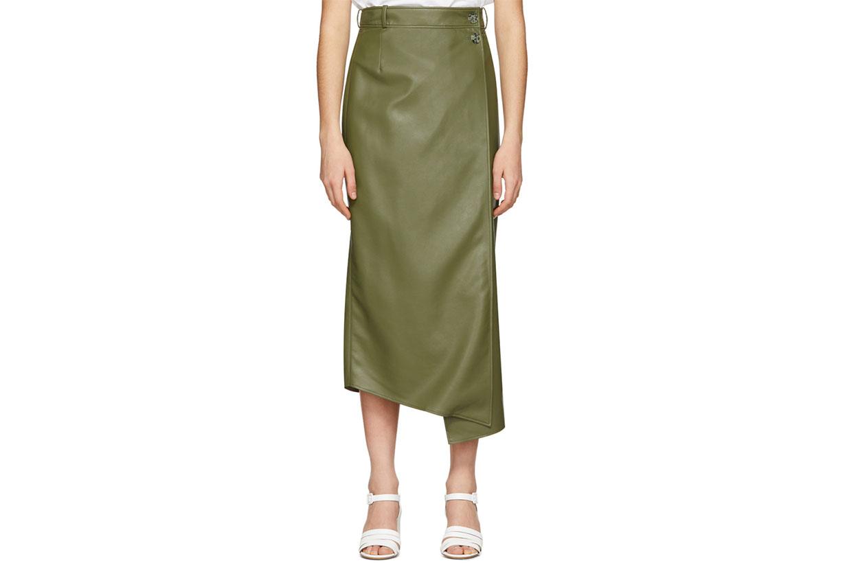 Áeron Green Faux-Leather Lucilla Wrap Skirt