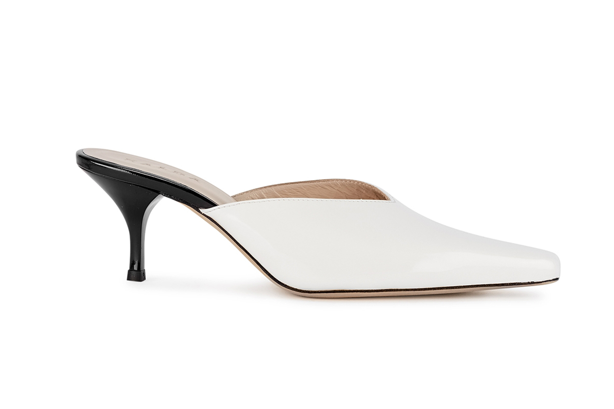Alba 65 white patent leather mules