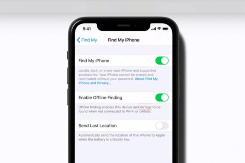 Apple AirTag feature in support video