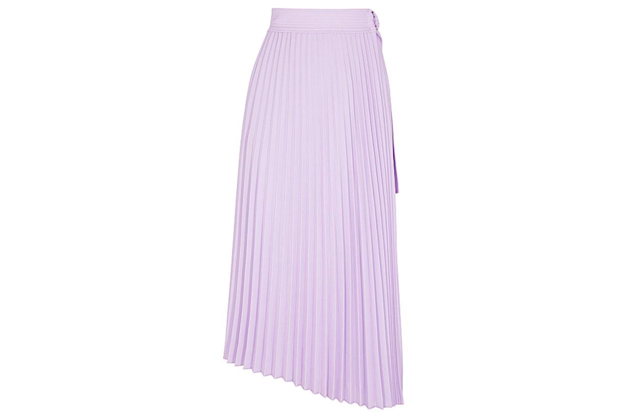 Arielle lilac pleated twill midi skirt