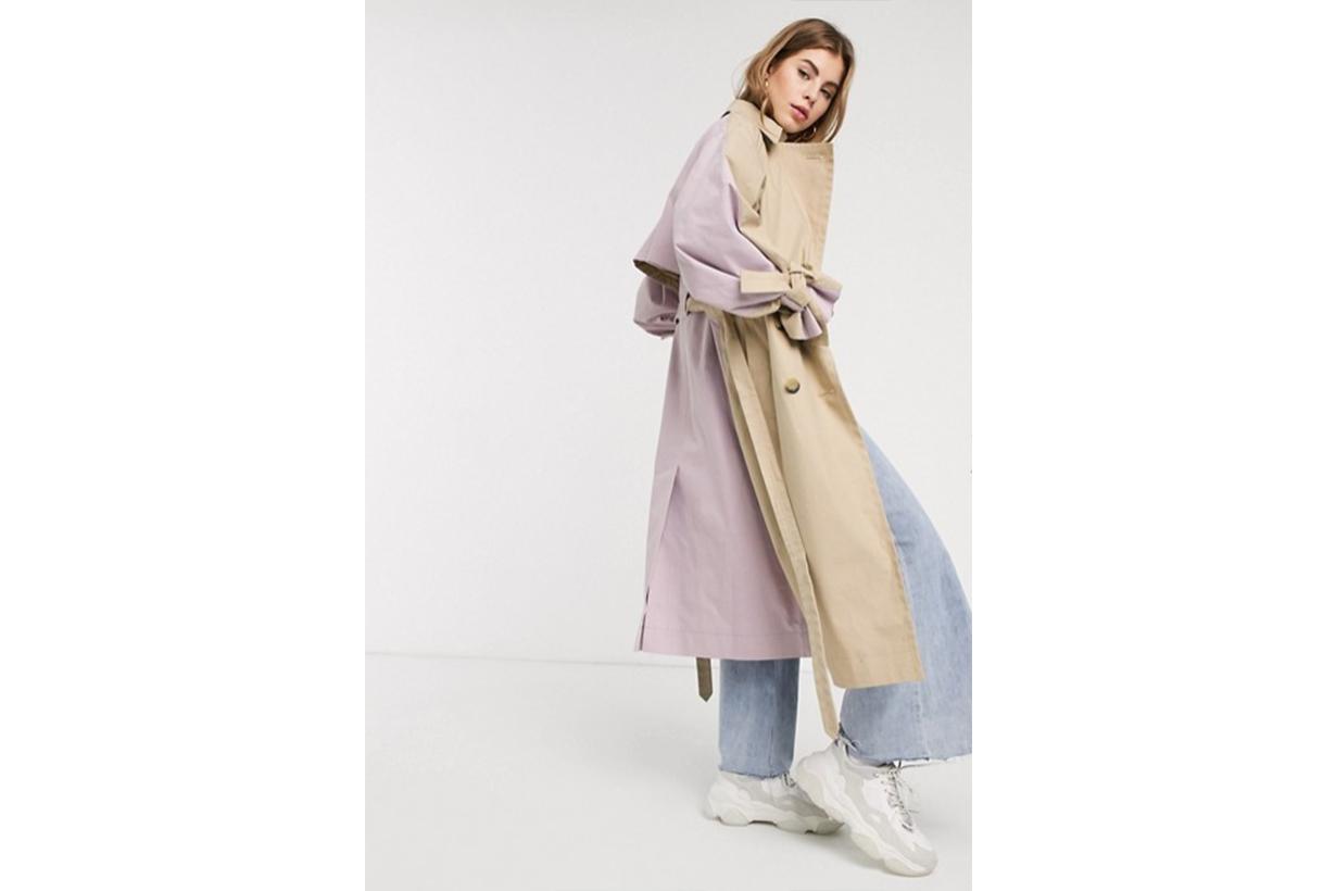ASOS DESIGN Colourblock tie sleeve trench coat in stone