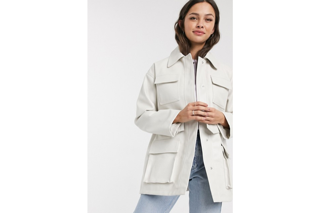 ASOS DESIGN four pocket belted faux leather jacket in white