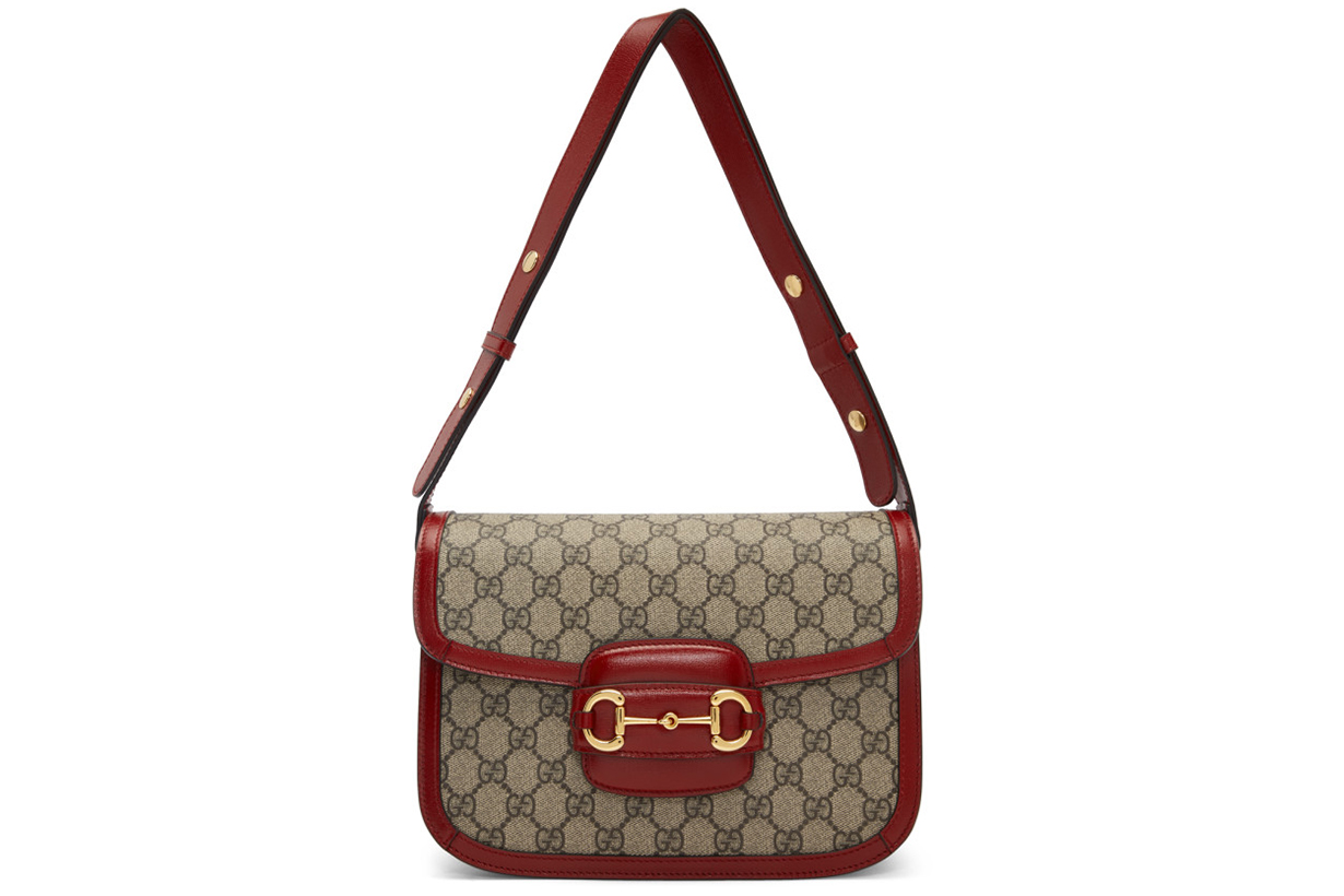 Beige & Red 'Gucci 1955' Horsebit Bag