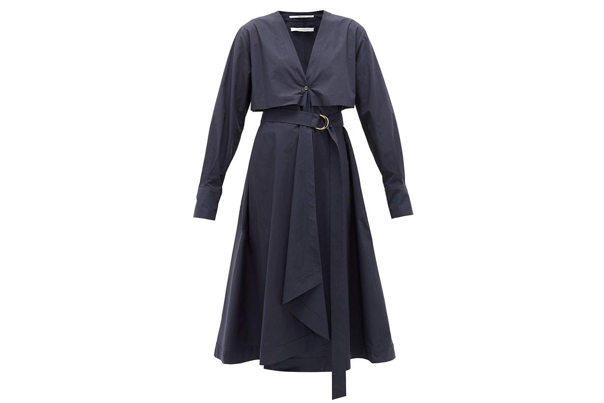 Belted organic cotton-poplin shirt dress