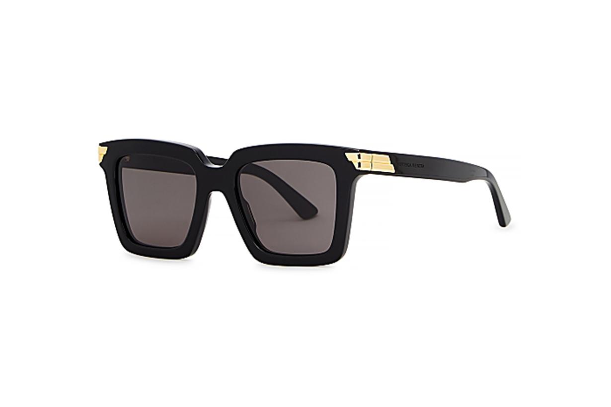 BOTTEGA VENETA Black square-frame sunglasses