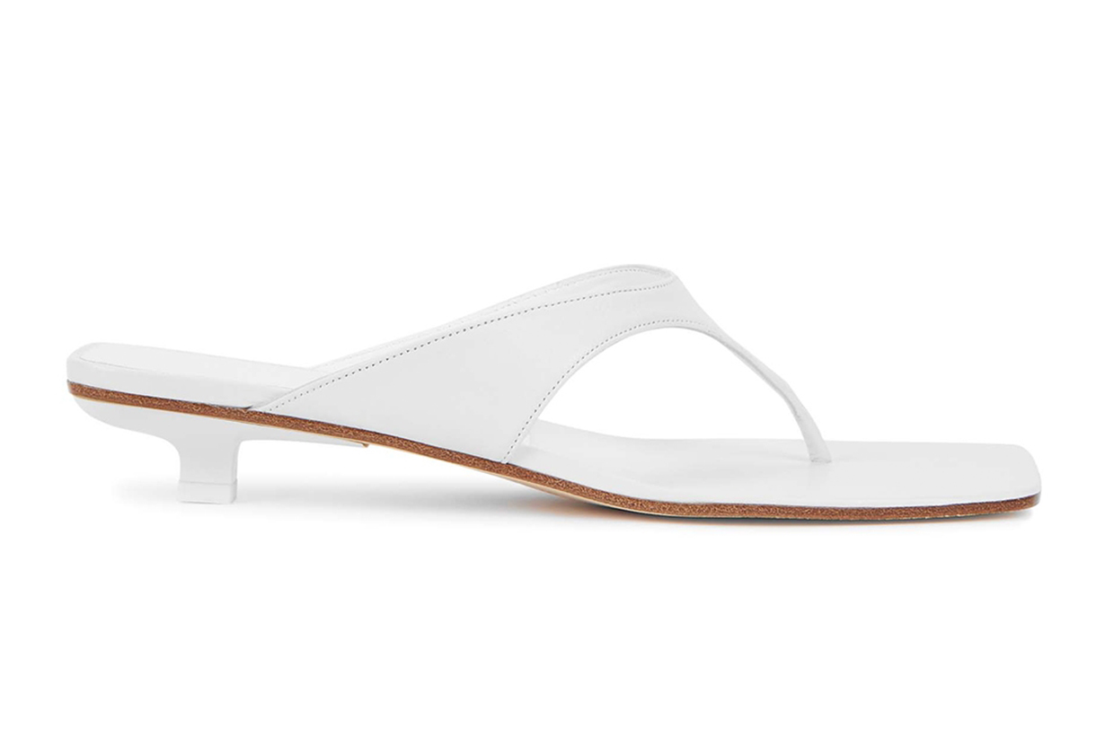 BY FAR Jack 25 white leather sandals