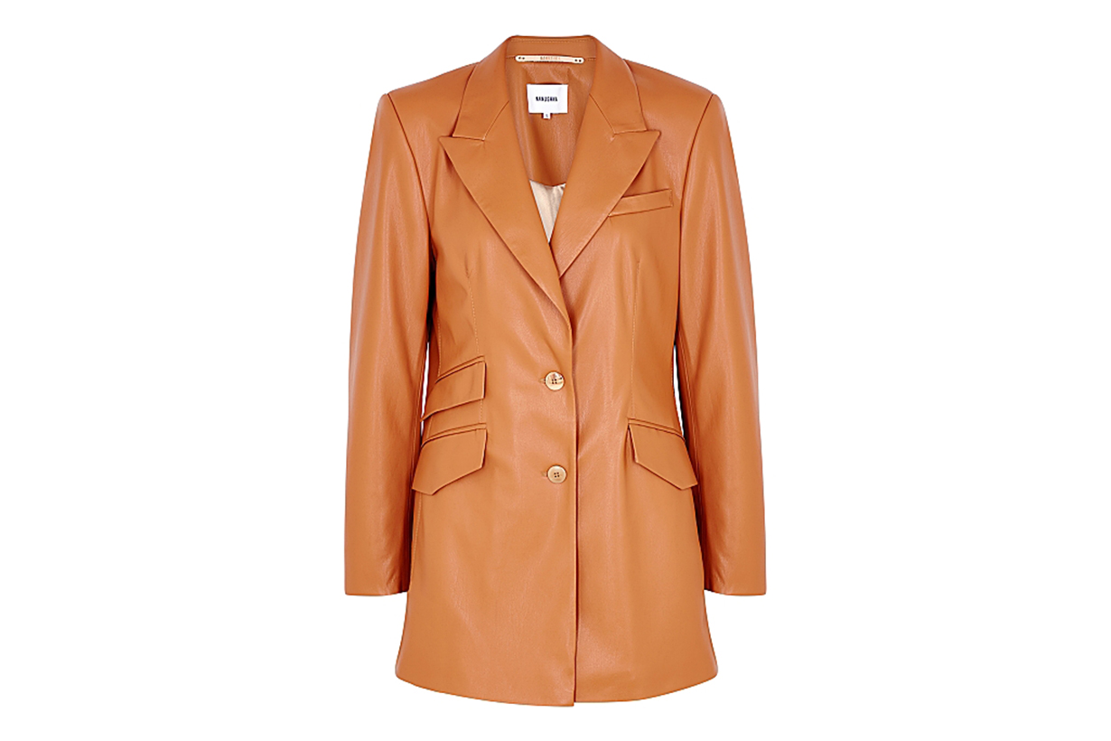 Cancun burnt orange faux leather blazer