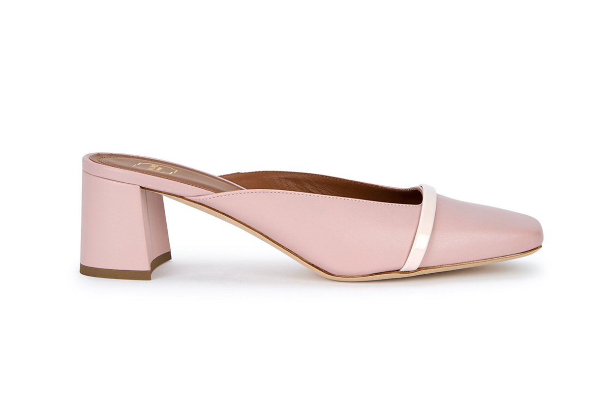 Carmen 45 pink leather mules