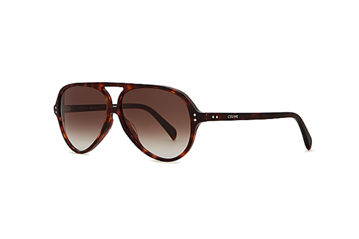 CELINE EYEWEAR Tortoiseshell aviator-style sunglasses