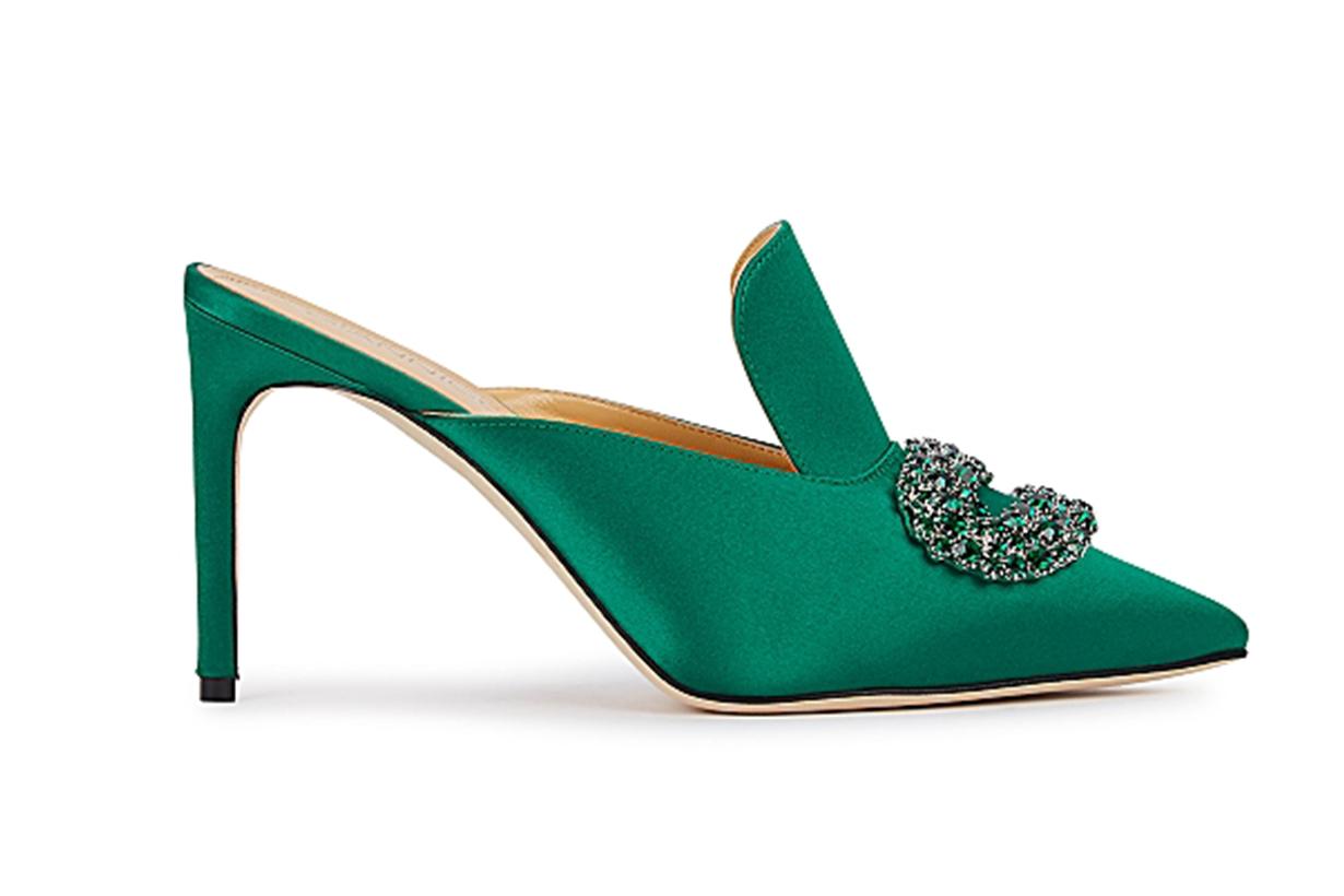 Daphne 90 green crystal-embellished satin mules