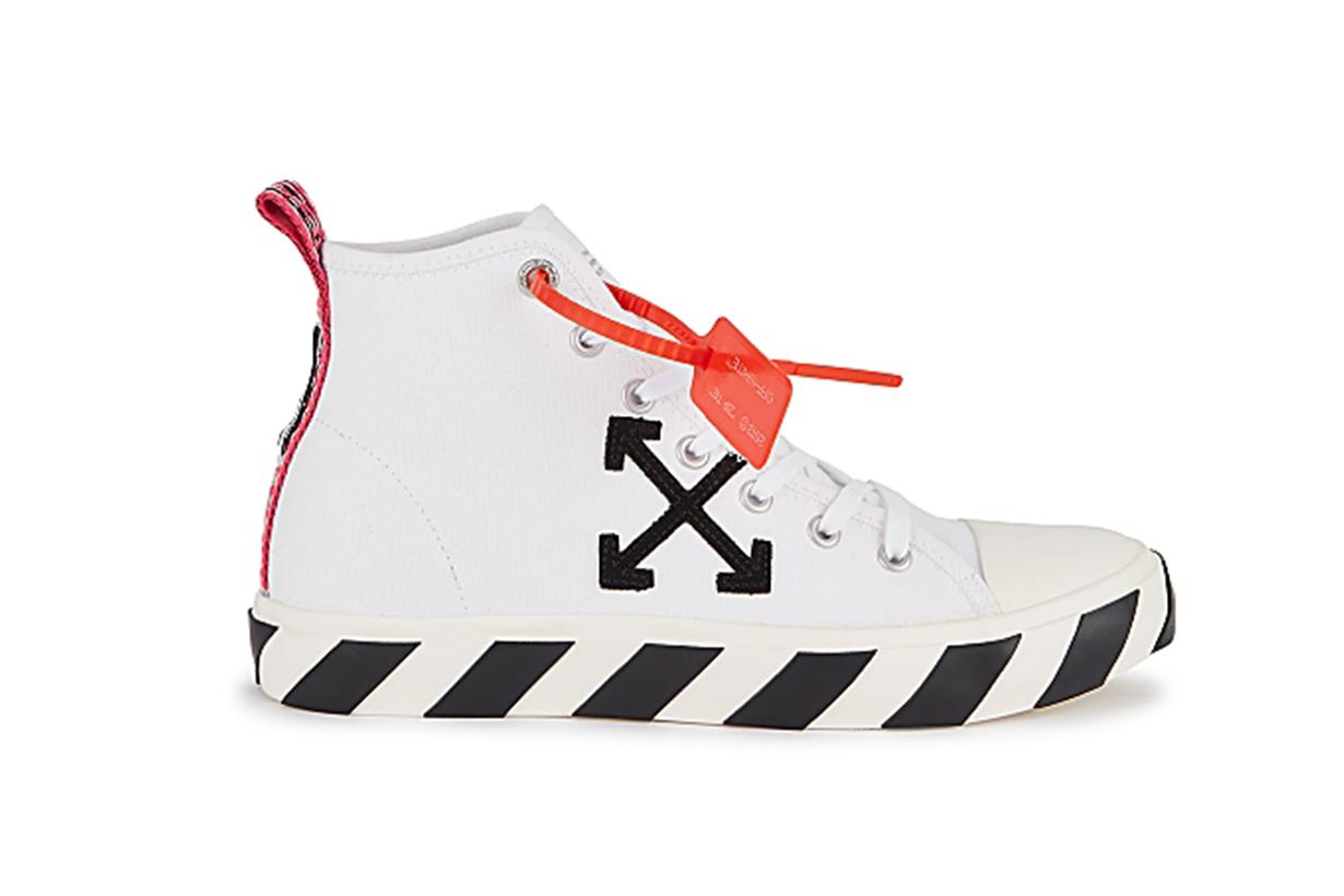 Diag Vulcanised white canvas hi-top sneakers