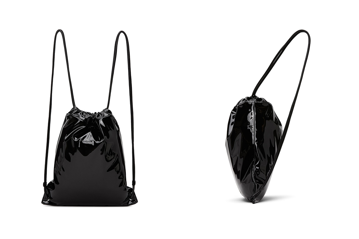 saint laurent black patent leather lambskin teddy backpack drawstring Anthony vaccarello handbags