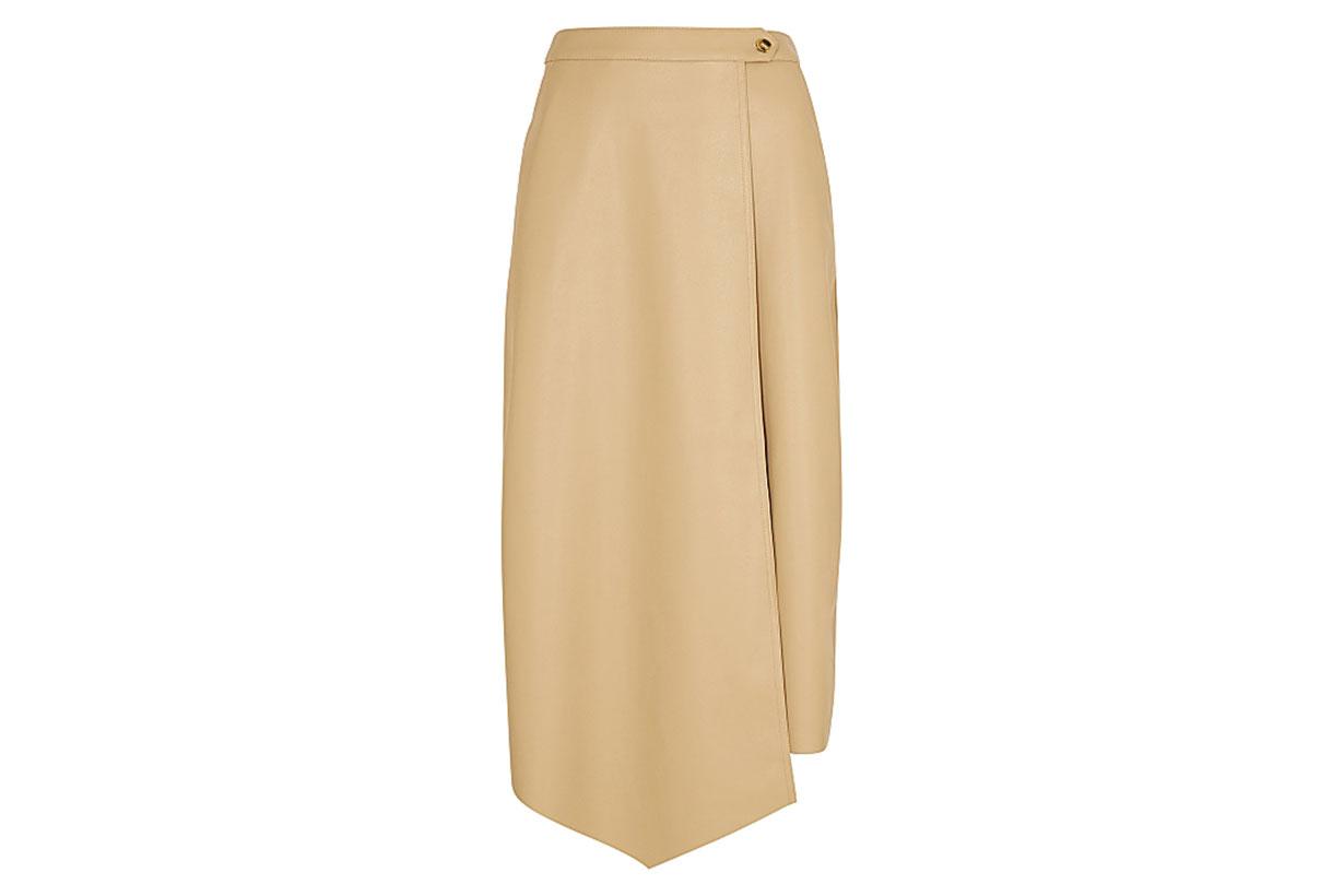 Evie ecru faux leather wrap skirt