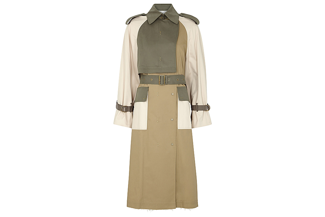 Gesner camel panelled brushed twill trench coat