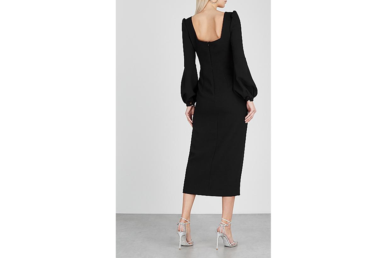 Giada black cady midi dress