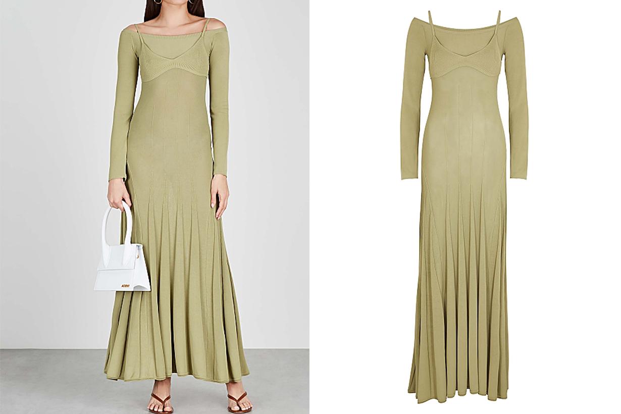 JACQUEMUS La Robe Valensole green fine-knit dress
