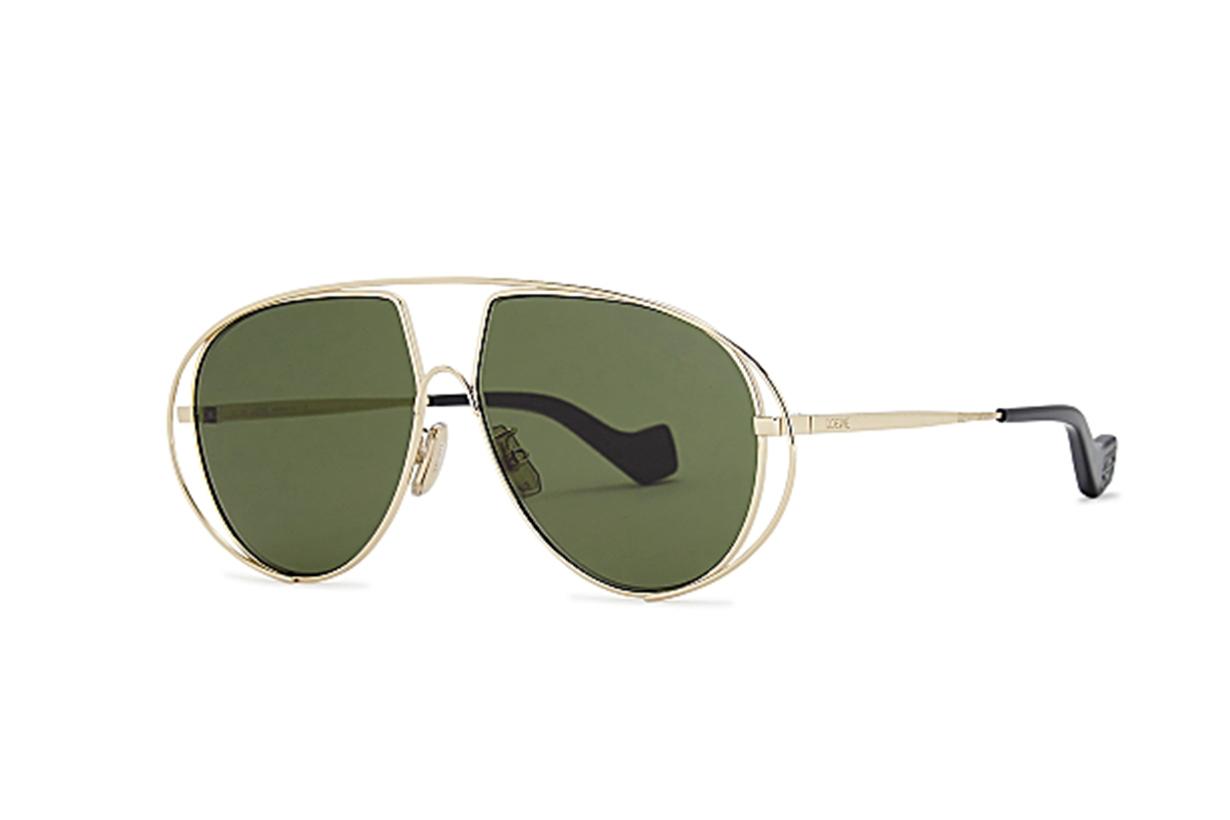 LOEWE  Pale gold-tone oversized sunglasses