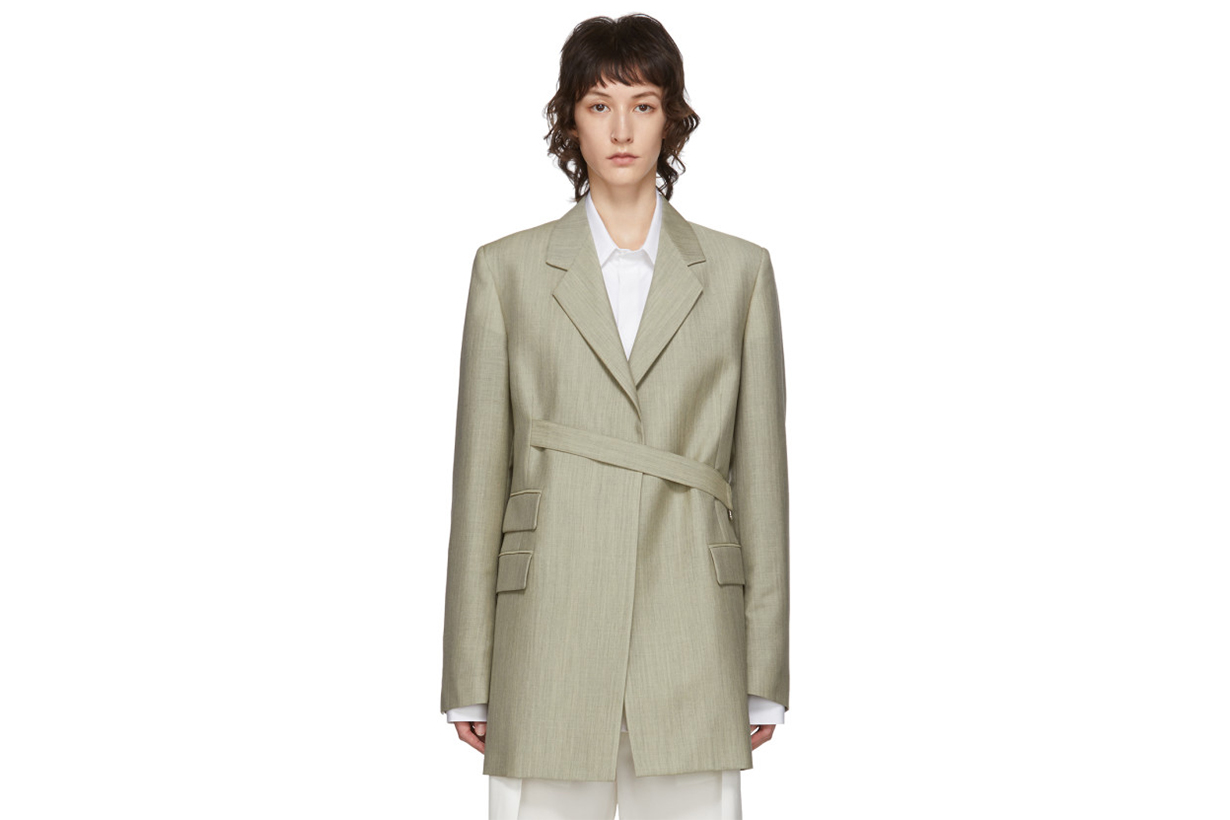 Maison Margiela Green Mélange Mohair & Wool Wrap Blazer