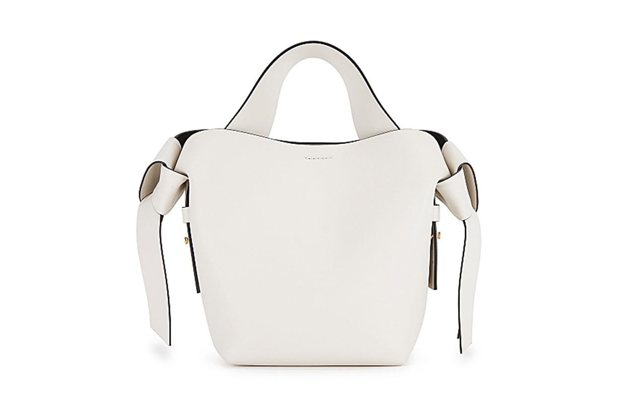 Musubi mini white leather cross-body bag