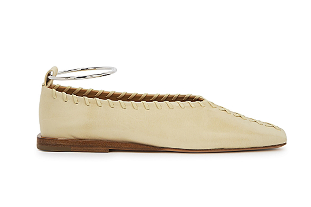 Off-white whipstitched leather flats