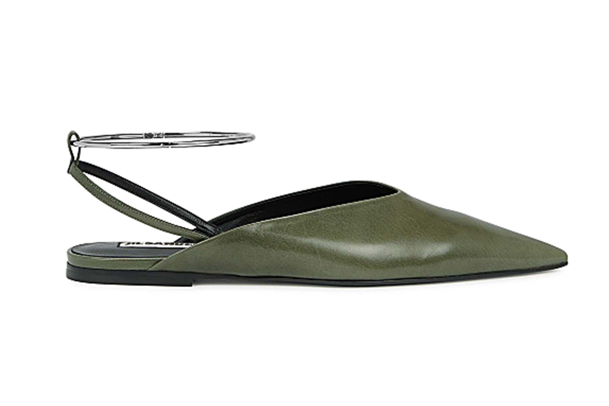 Olive leather mules