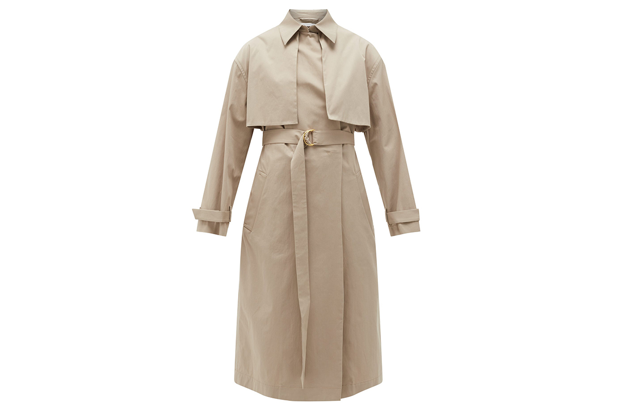Organic cotton-blend trench coat