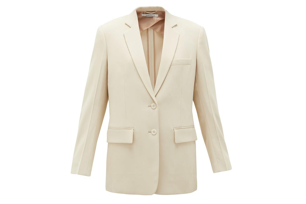 Oversized single-breasted twill jacket