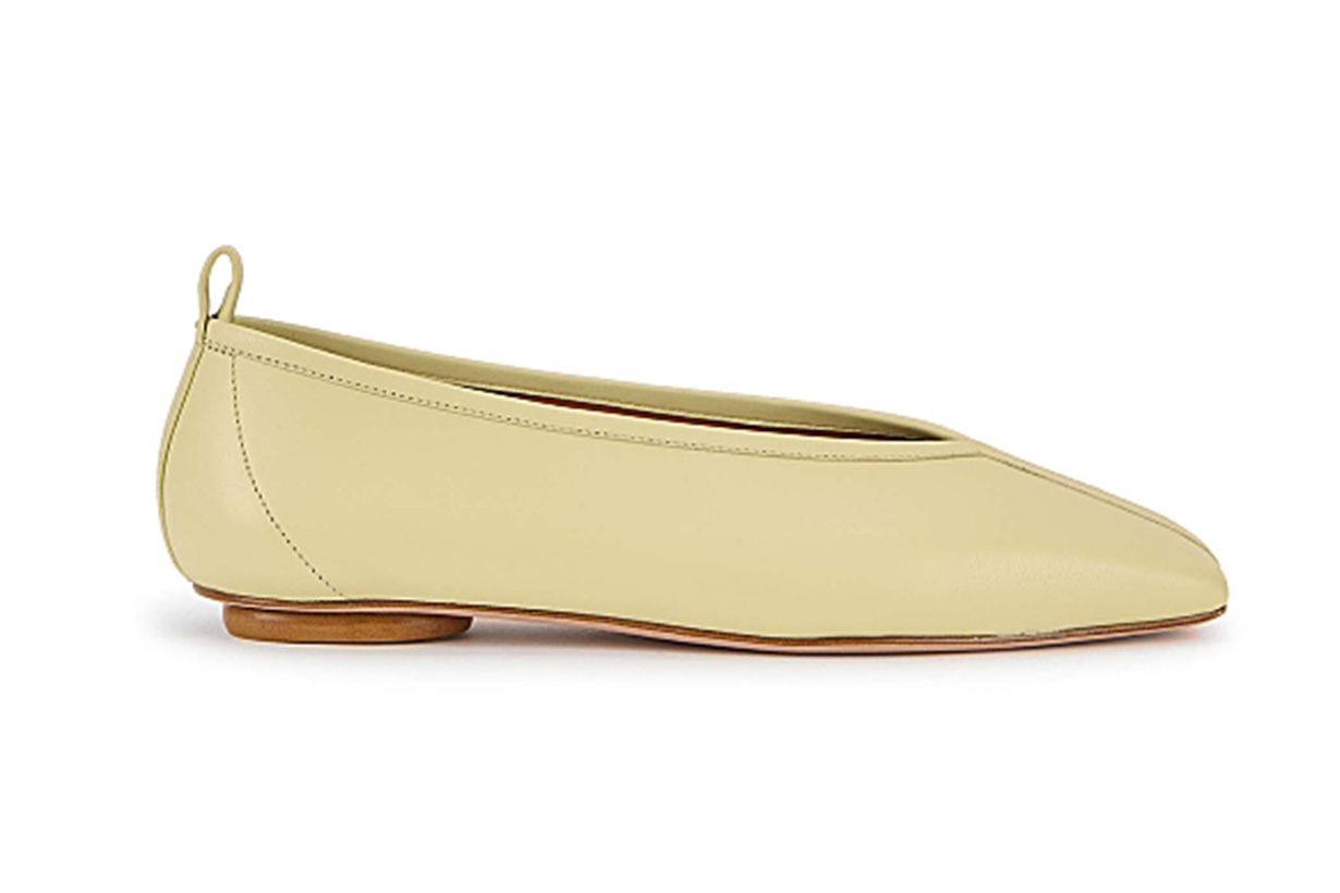 Pale yellow leather flats
