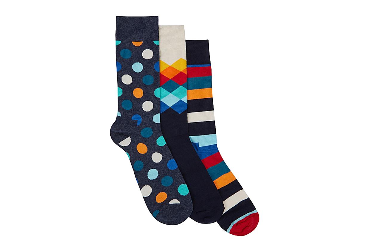 Pattern-intarsia cotton-blend socks gift set