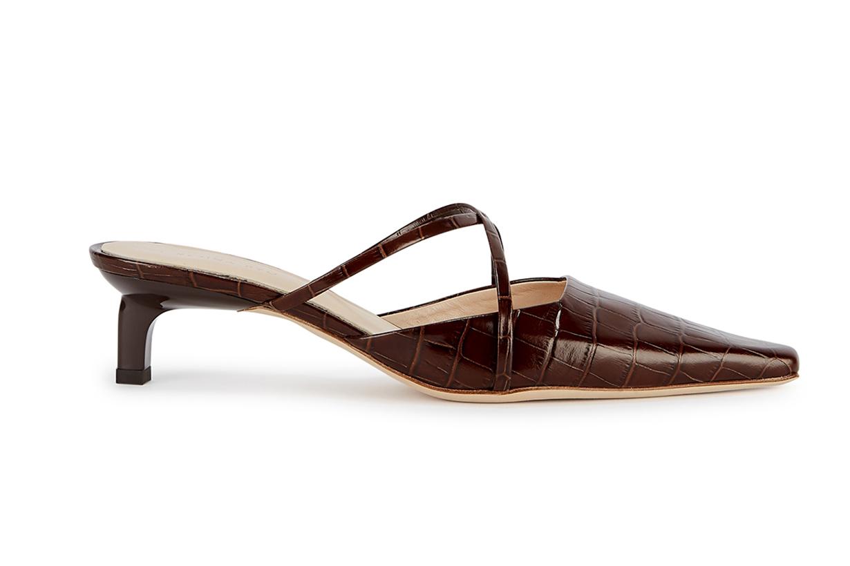 Phoebe 50 crocodile-effect leather mules
