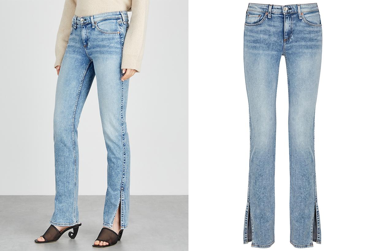 Jeans Denim RAG & BONE Cate light blue slim-leg jeans AGOLDE straight-leg jeans wide-leg jeans Vetements