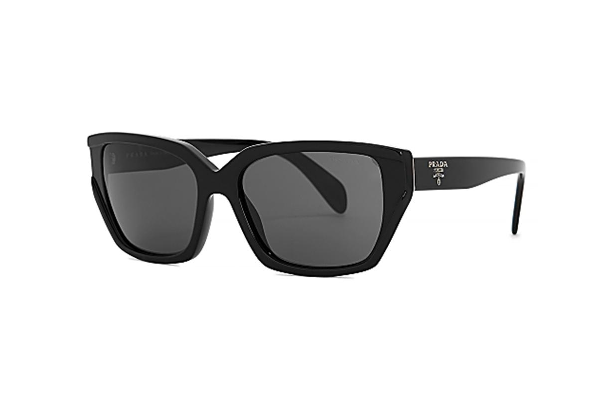 PRADA Black rectangular-frame sunglasses