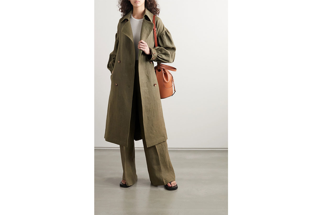Pukapuka Oversized Linen Trench Coat