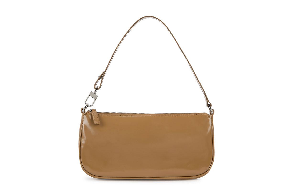 Rachel brown patent leather shoulder bag