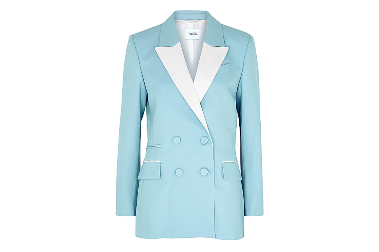 RACIL Felix blue double-breasted wool blazer